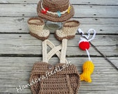 Crochet Newborn-3 Months Baby Fisherman Photo Prop Outfit Diaper Cover, Fishing Hat, Boots, Fish and Bobber Set Great Gift