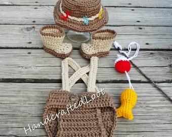 Newborn Fishing Outfit, Newborn Fishing Set, Crochet Fishing Outfit, Fishing Outfit, Baby Fishing outfit, Brown Fishing Outfit, Fishing Prop