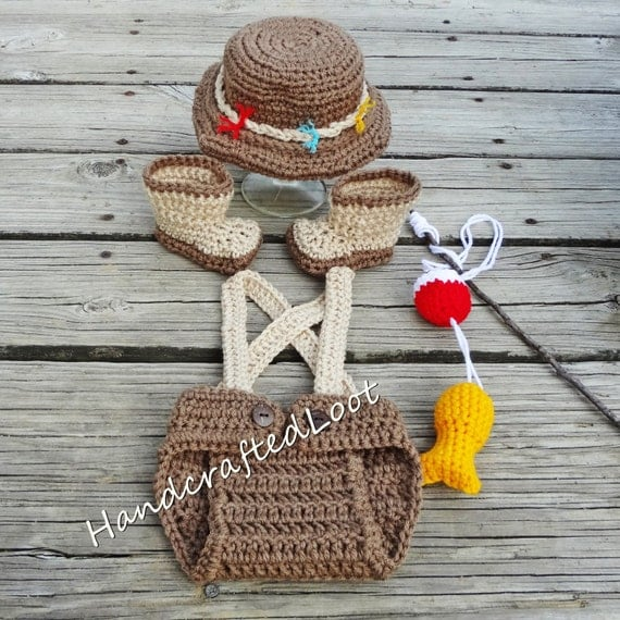 Crochet newborn 3 months baby fisherman photo prop outfit for Baby fishing hat