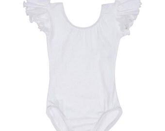 WHITE Toddler & Girls Flutter / Ruffle Short Sleeve Leotard - Flower Girl Favorite!