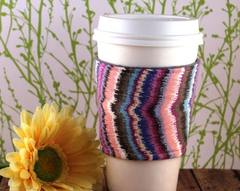 Fabric Coffee Cozy / Blurred Pastel Lines Coffee Cozy / Coffee Cozy / Tea Cozy