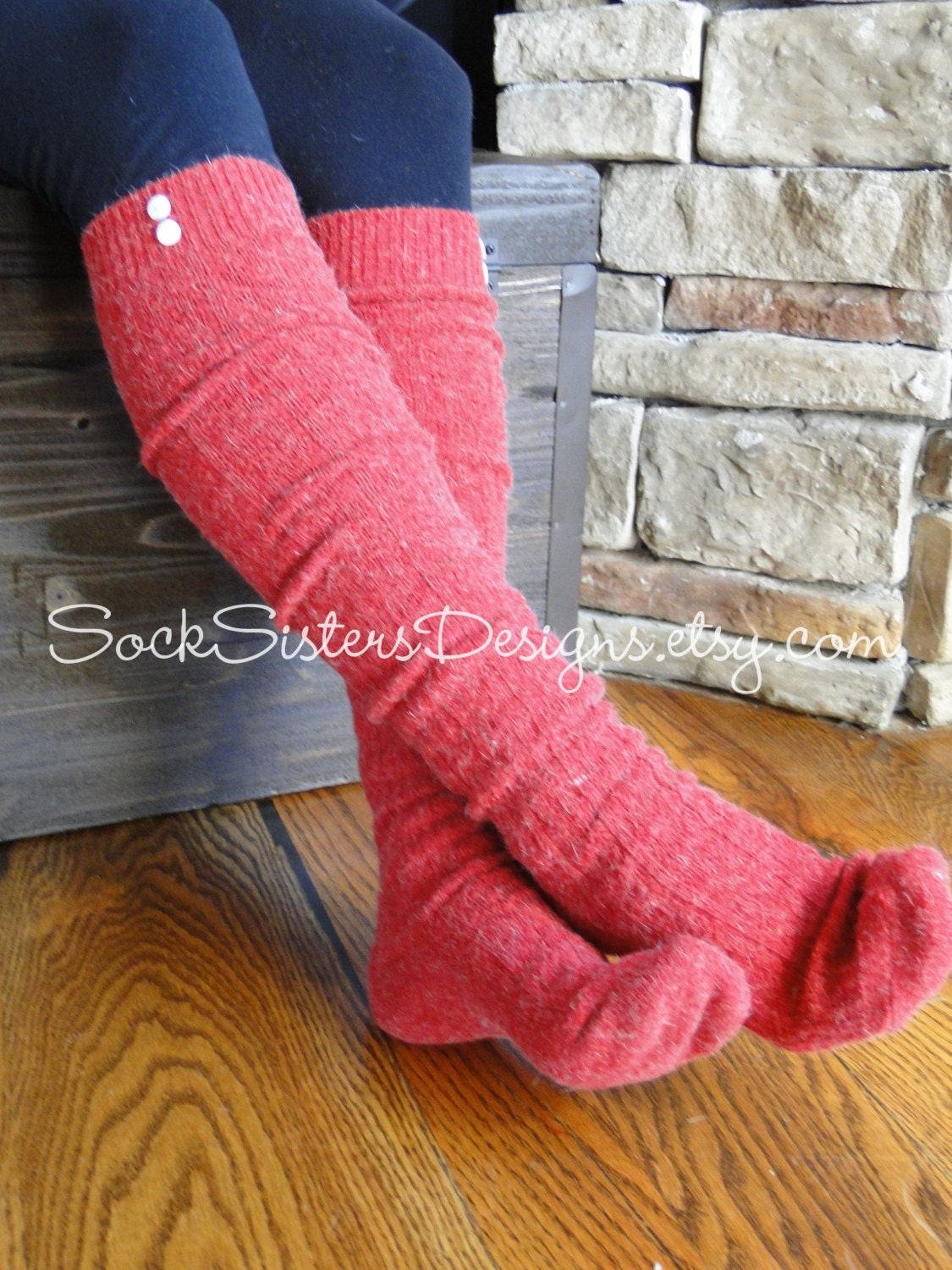 knee high boot socks with button options by socksistersdesigns