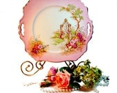 Vintage Pink Transferware Plate or Platter Gateway by Royal Winton, Downton Abbey Decor