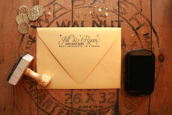 "Glamorous Starry Night Return Address Stamp - Elegant Wedding Address Stamp - 3"" x 1"" - Luna"