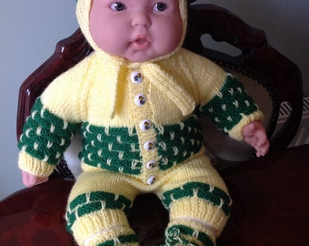 REDUCED PRICE Yellow & Green baby outfit in a brick design