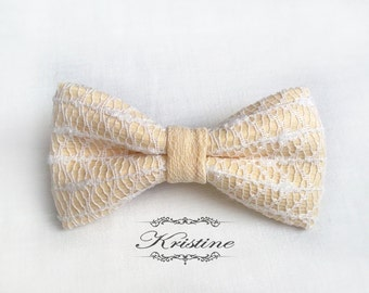 Womens Bow Tie / Cream Lace Bow Tie / Gift for Girlfriend Ideas / Winter Gift Wife / Birthday Gifts for Mom