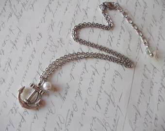 Anchor and pearl stainless steel necklace