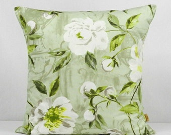 24x24, pillow, Decorative throw cover, Willow, 24 inch, pillow Sham, Floral pillow, shabby chic,Green, white,flowers, Throw pillow, handmade