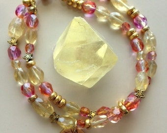 Citrine and Swarovski Sunset Crystals Double Strand Bracelet