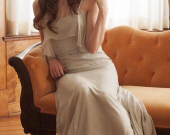 Boho Chiffon Wedding Dress, 1930s Vintage Inspired Gray Wedding Gown, Ivory Silk Chiffon Wedding Dress, Romantic Elopement Dress - Luna