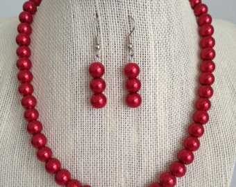Red Pearl Necklace, Red Bridal Jewelry, Christmas Wedding, Wedding Jewelry Set, Red Pearl Earrings, Glass Beaded Jewelry, Pearl Jewelry Set