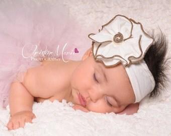 Baby girl headbands, Cream flower headband, baby headbands, girls headband, newborn headband, infant headband, cream headband, fall headband