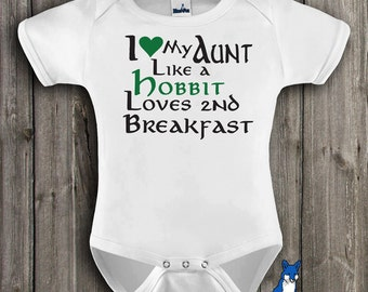 Funny baby clothes-I love my aunt like a hobbit loves 2nd breakfast-Baby Clothing-Baby bodysuit- Geekery baby clothes-Blue Fox Apparel-194