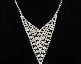 Rhinestone Bib Necklace Vintage  Hollywood Glamour