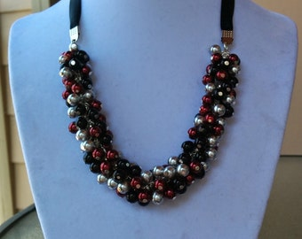 Maroon, Gray, and Black Pearl Cluster Necklace