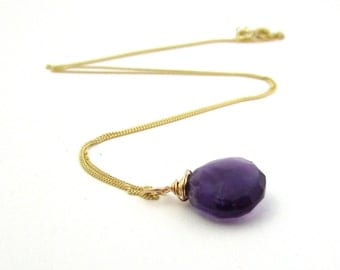 14k gold amethyst necklace, February birthstone necklace, purple amethyst jewelry, 14k solid gold necklace, gold amethyst gemstone pendant