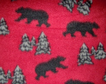 Grizzly Black Bear on Red Fleece Blanket