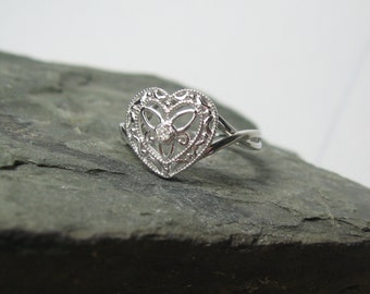 Heart Diamond Promise Ring Sterling Silver, Ready to Ship