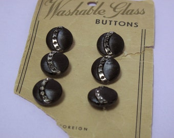 """Set of 6 Vintage Black and Silver Glass Buttons on Original Card, 1/2"""" (13 mm)"""