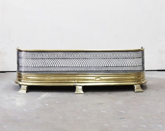 English Brass and Steel Mesh Fireplace Fender