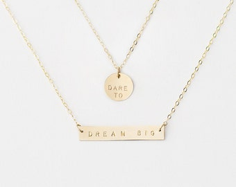 Personalised necklace set - Dare to Dream Big - gold bar necklace - layering necklace - brides necklace - inspirational jewellery