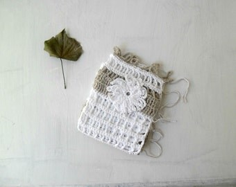 French Cafè curtain crochet beige and white shabby chic home decor