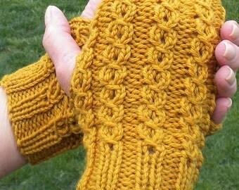 Fingerless Gloves Handknit Ladies' Gloves Honey Gold Merino Wool & Silk Cabled Fingerless Gloves Yellow Handwarmers Knit Fingerless Gloves