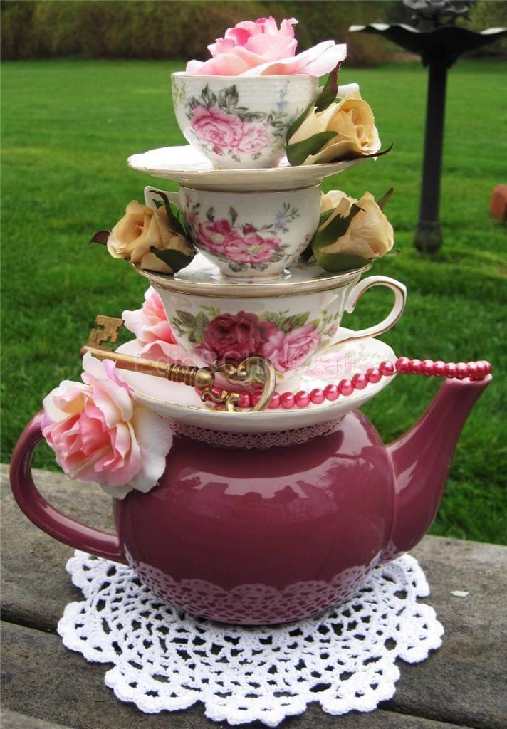 Romantic teapot floral teacup centerpiece faux roses