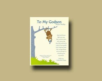 Godson gift - Gift for Godson - Personalized gift for Godson - Gift from Godmother, Gift From Godparents,  Keepsake  - MONKEY