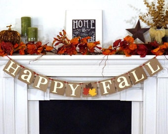 Fall Decorations Banner - Happy Fall Themed Banner - Thanksgiving Decorations - Holiday Decorations - Thanksgiving Decor - Happy Fall
