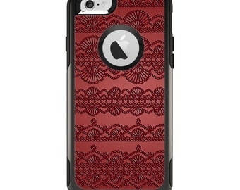 The Dark Red Highlighted Lace Pattern Apple iPhone 6 Otterbox Commuter Case Skin Set