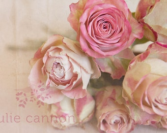 Pink Rose Photography - Pink Cream and Burgundy roses - Vintage Inspired - Flower Photography - Pink Roses - Home Decor - Bedroom Decor