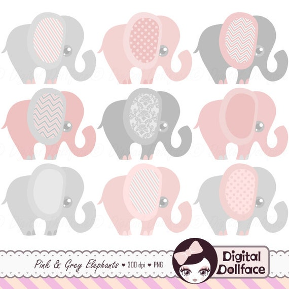 Pink and Grey Elephant Clipart Baby Girl Clip Art Set