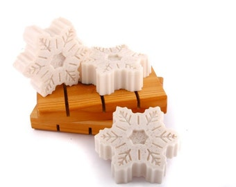 CLEARANCE SALE Cinnamon Honey Cake Snowflake Soap Set of Three, Glycerin Soap, Stocking Stuffer, Gift for Her