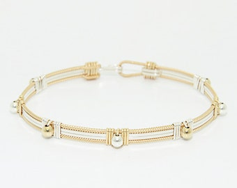 The Jasmine Stackable Bracelet \ Gold and Silver Stackable Bracelet \ Gold and Silver Bangle \ Gold Cuff Jewelry
