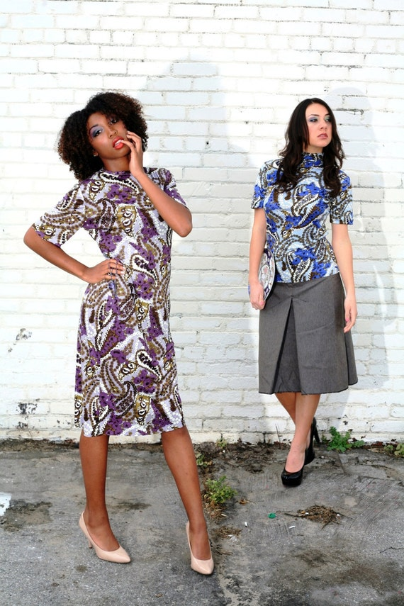 Purple Paisley Silk Short Sleeved Dress