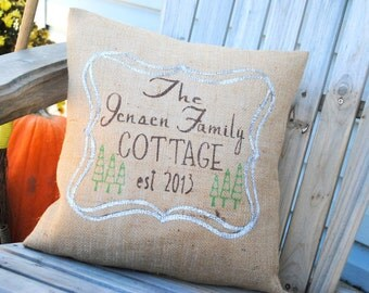 A warm country Cottage Chic  pillow cover personalized for your family! Country decor, Welcome home, burlap pillow, Personalized pillow.