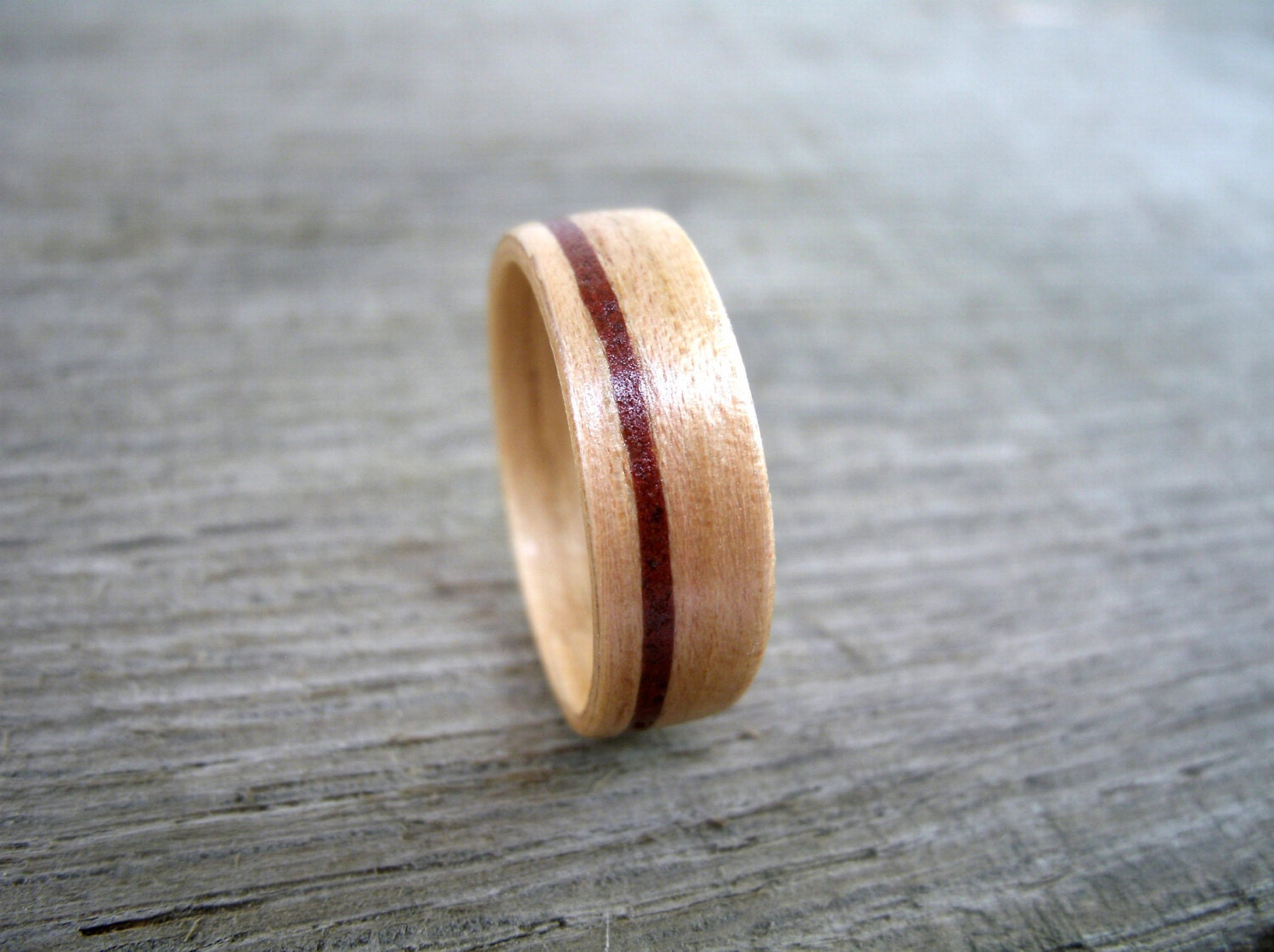 wooden ring firefighter wedding brick inlaid hickory wood inlay wedding ring - Firefighter Wedding Rings