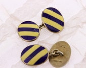 Gold Washed Sterling Silver Oval Chain Cufflinks with Enamel