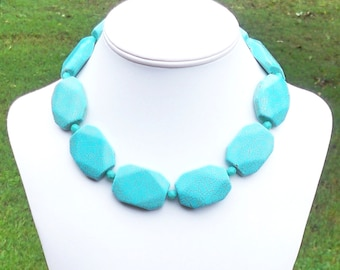 Chunky Turquoise Necklace Faceted Turquoise Necklace Large Turquoise Necklace 35mm Geometric Turquoise Necklace Turquoise Statement Necklace
