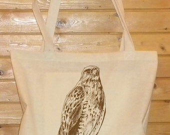 The Icelandic Falcon. Handprinted on a home sewn Tote Bag