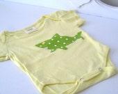 Infant Baby - Boy - Snap T - Snap-tee - Snap suit  - Bodysuit - Shark - Green & Yellow - 0-3 Months - OOAK - Ready 2 Ship