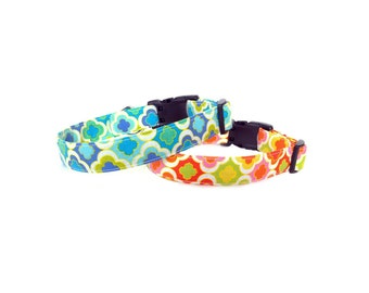 Handmade Cheerful Spring Summer Preppy Bright Colorful Dog Collar