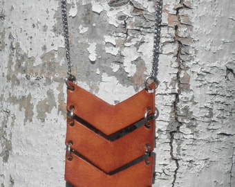 Leather Triple Chevron Necklace--long, tan or black