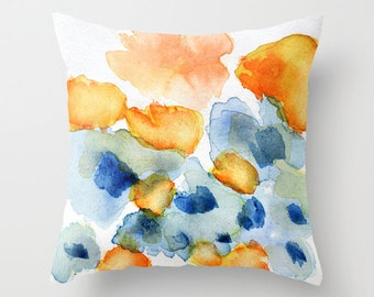 Cushion cover with fine art print. Bright orange and blue flowers, watercolor. Blue and orange pillow, couch pillow, accent pillow cover