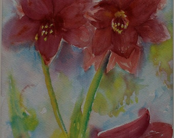 Red Amaryllis, Impressionistic, Atmospheric, Flower Painting, Original Acrylic Painting, 18 by 14 Inches, Includes Mount, Ready to Frame