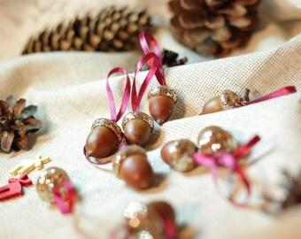 Glittered Acorn Ornament. Waldorf Decoration, Woodland, Rustic Wedding, Sweet Home