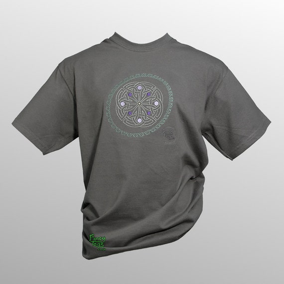 Norse celtic knot embroidery grey t shirt viking art tshirt for Celtic design t shirts uk