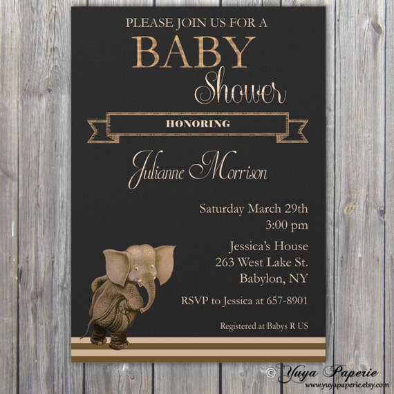 Elegant Safari Baby Shower: Safari Baby Shower Invitation Neutral Invitation Elegant