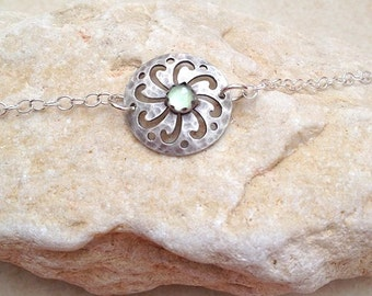 Aquamarine silver  bracelet , Chain Bracelet , gemstone bracelet , sterling silver bracelet , Gifts for Her